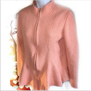 St.John knits zip up wool sweater jacket Sz L